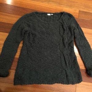 Anthropologie Forest Green Side Braid Sweater